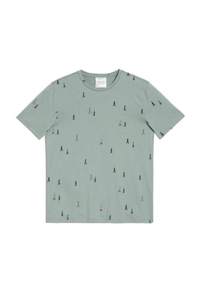 T-shirt vert motifs en coton bio - jaames people - Armedangels