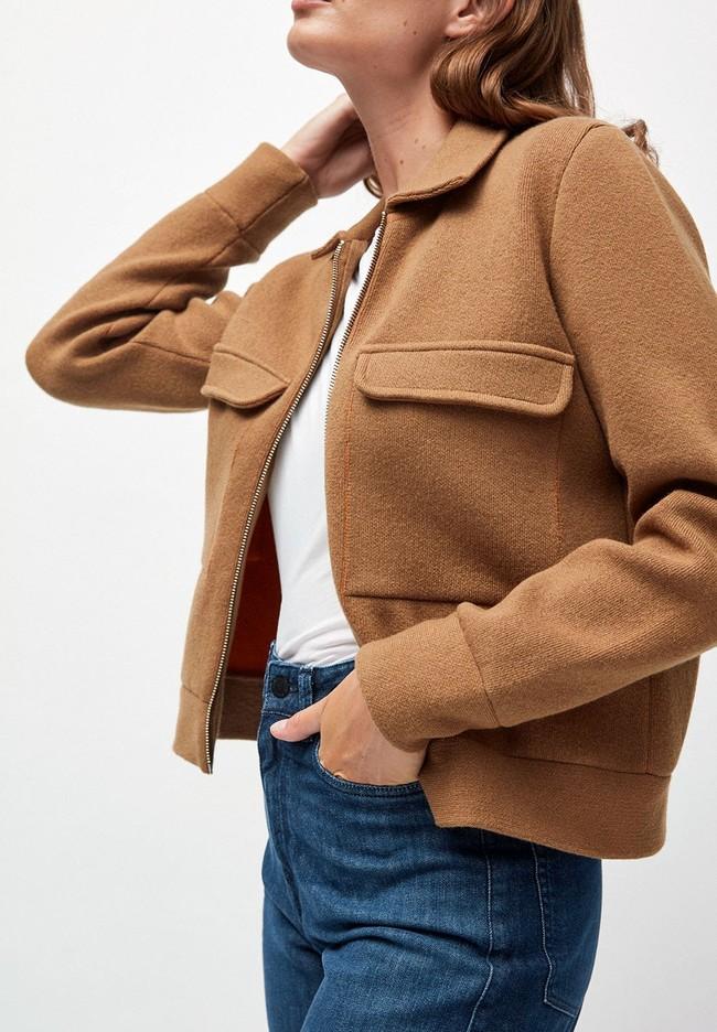 Veste marron en coton et laine bio  - alondraa - Armedangels num 1