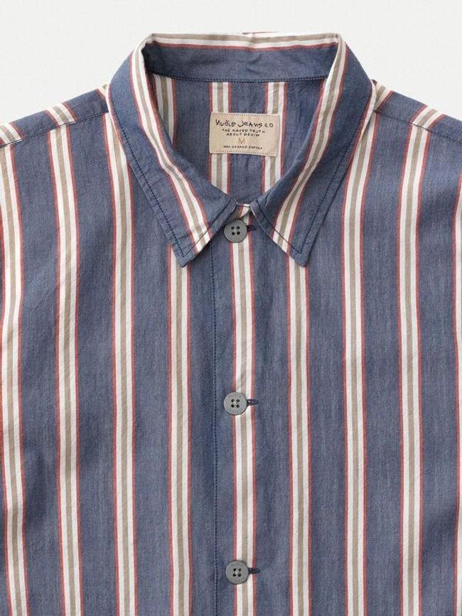 Chemise manches courtes rayée en coton bio - svante cuban - Nudie Jeans num 5