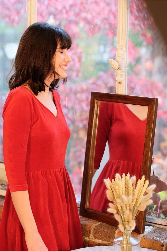 La Robe Ecume en coton bio - rouge - Atelier Unes