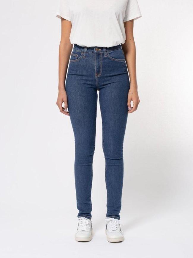 Jean skinny taille haute bleu en coton bio - hightop tilde light navy - Nudie Jeans