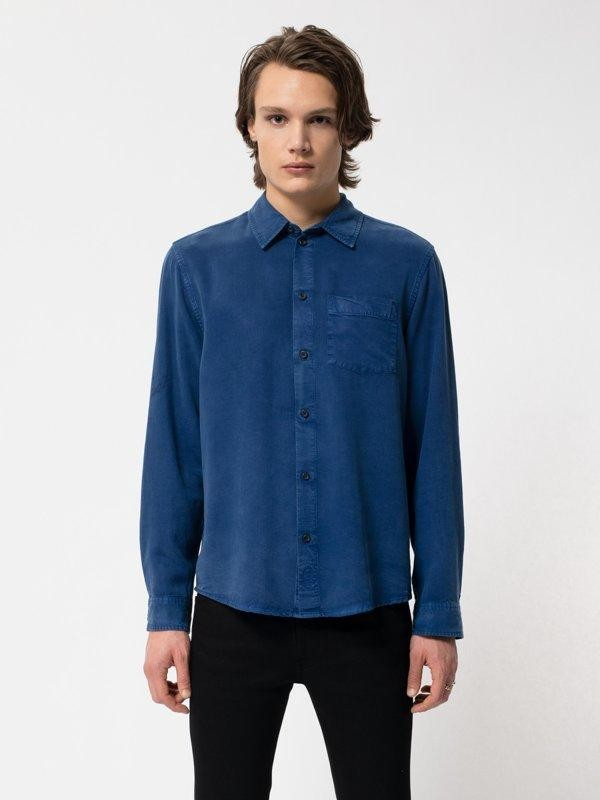 Chemise bleue en twill  - chuck smooth - Nudie Jeans