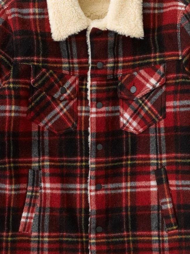 Veste sherpa carreaux rouge en laine recyclée - lenny - Nudie Jeans num 4