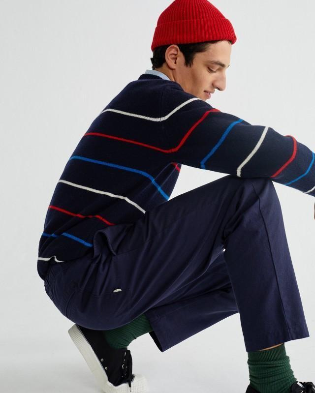 Pantalon ample marine en coton bio - travel - Thinking Mu num 3