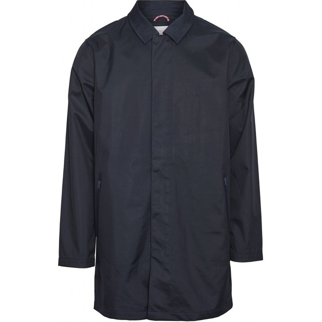 Manteau car coat bleu nuit en coton bio et polyester recyclé - beech - Knowledge Cotton Apparel