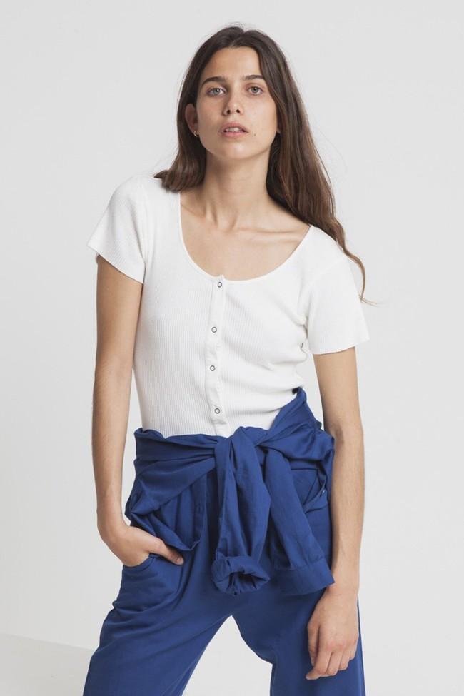T-shirt avec boutons blanc en coton bio - white rib boom - Thinking Mu