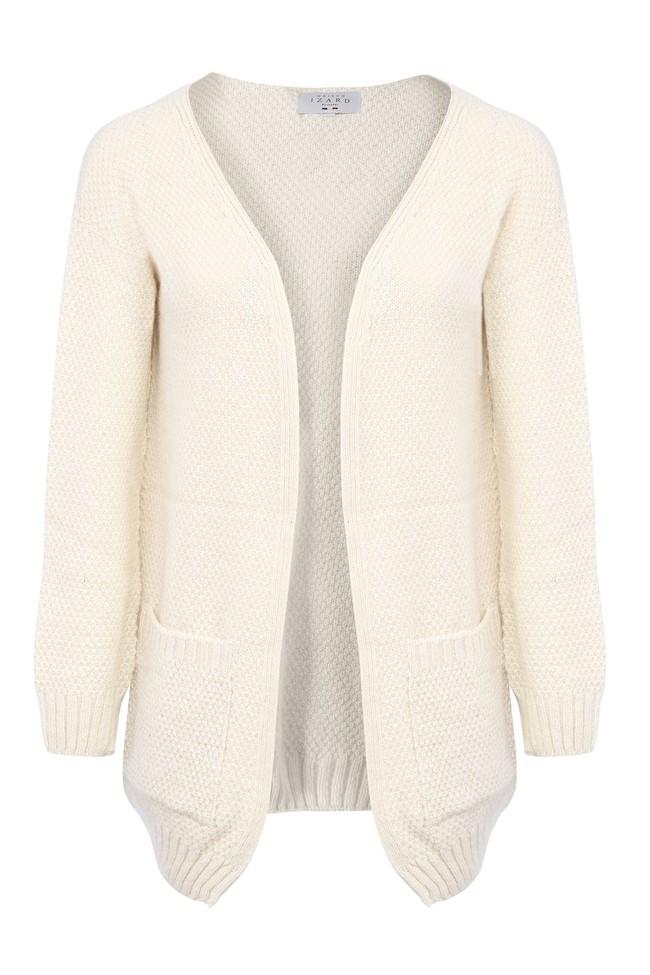 Gilet iris - laine blanc écru - Maison Izard