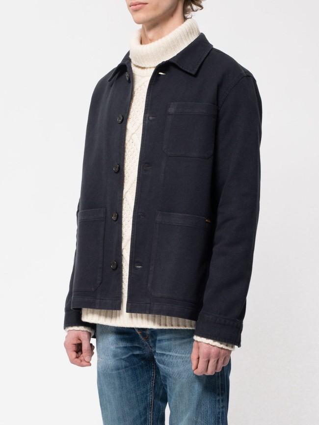 Veste de travail marine en coton bio - barney worker - Nudie Jeans num 1