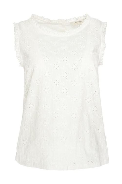 T-shirt sans manches blanc motifs broderie - katrina - People Tree num 3