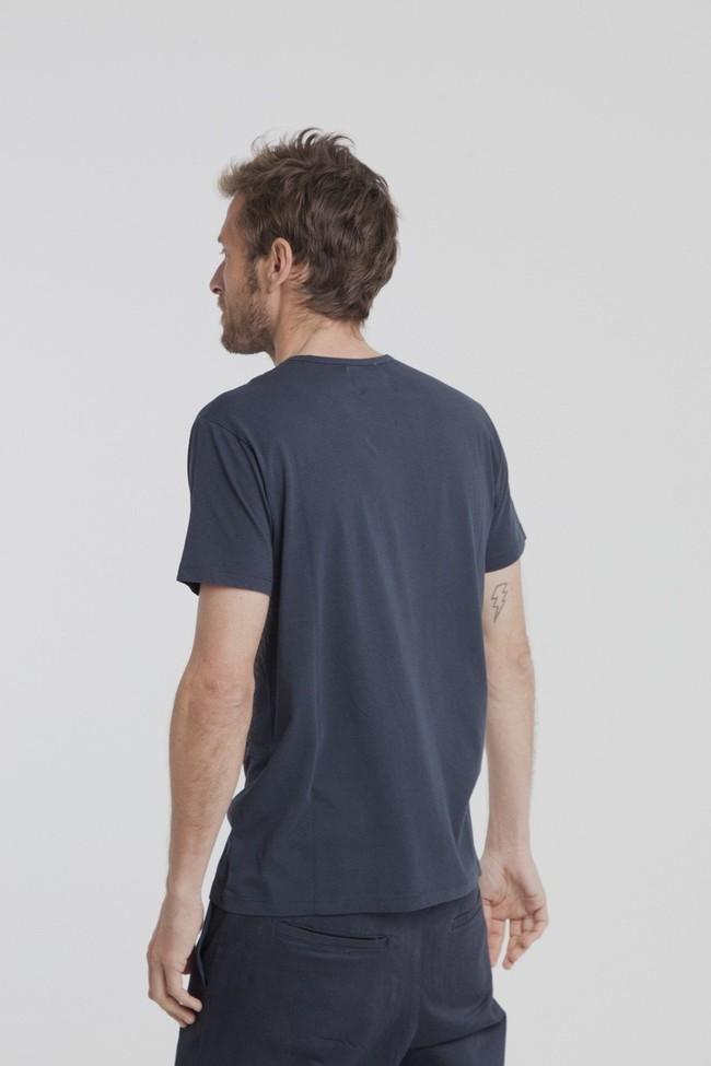 T-shirt uni marine avec poche en coton bio - Thinking Mu num 2