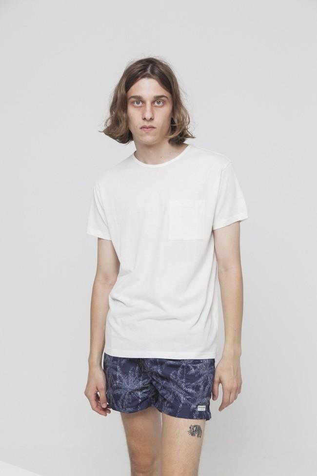 T-shirt uni blanc avec poche en coton bio - Thinking Mu