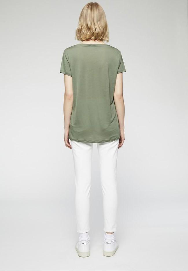 T-shirt col v kaki en tencel - juliaa - Armedangels num 3