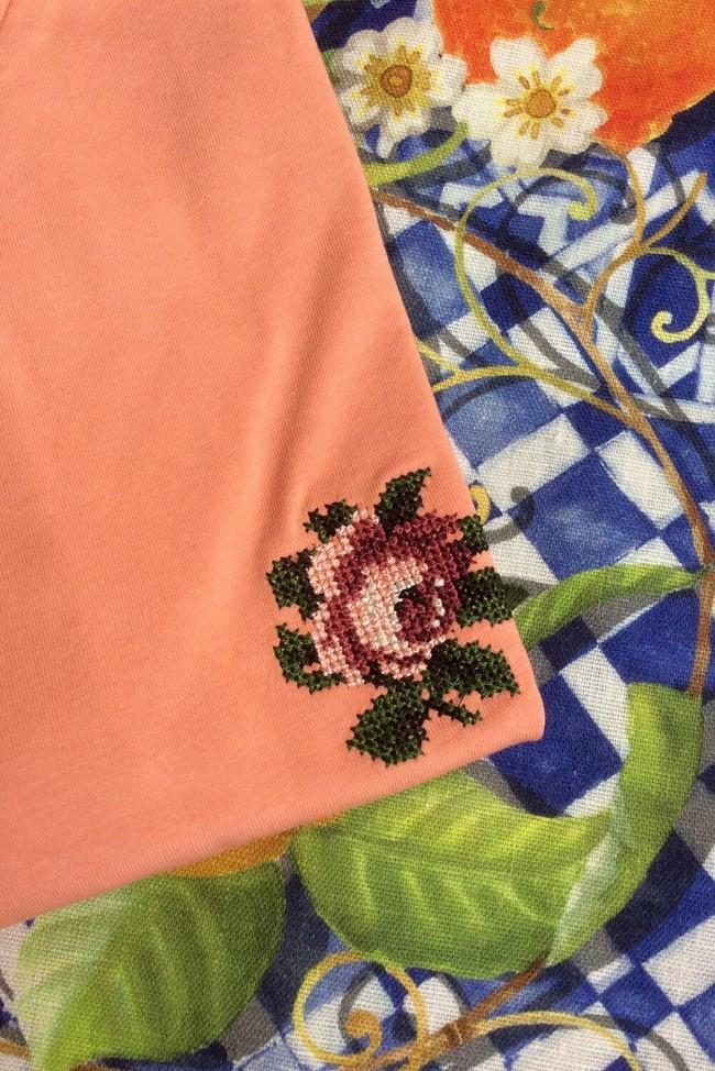 T-shirt brodé corail en coton bio - rose - Johnny Romance num 1