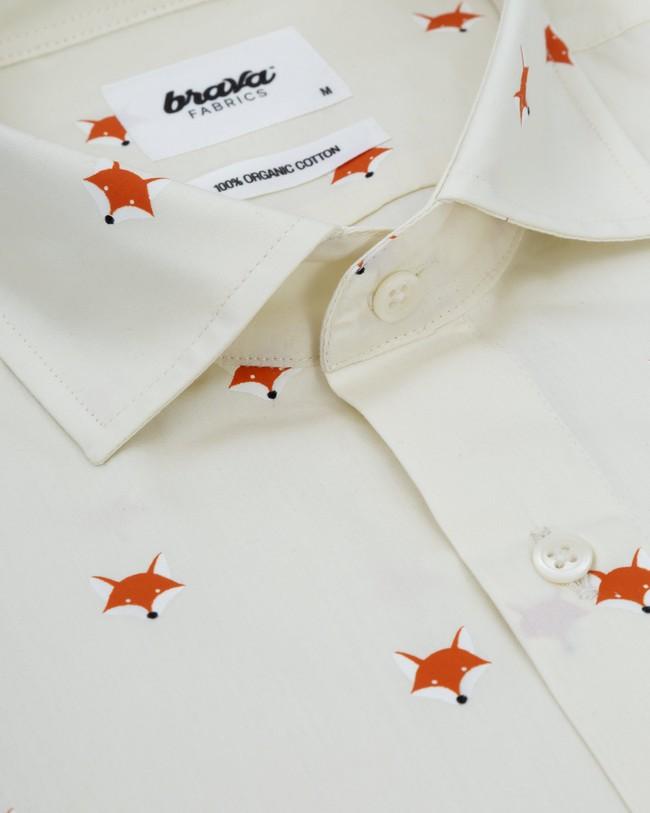 Fox in the snow white printed shirt - Brava Fabrics num 2