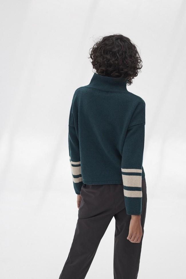 Pull en maille col haut vert en laine recyclée - dema - Ecoalf num 1
