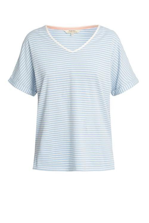 Haut de pyjama rayé bleu en coton bio - People Tree num 4