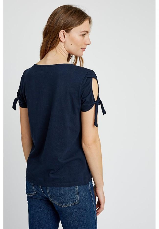 T-shirt manches avec nœuds bleu marine en coton bio - emery - People Tree num 1