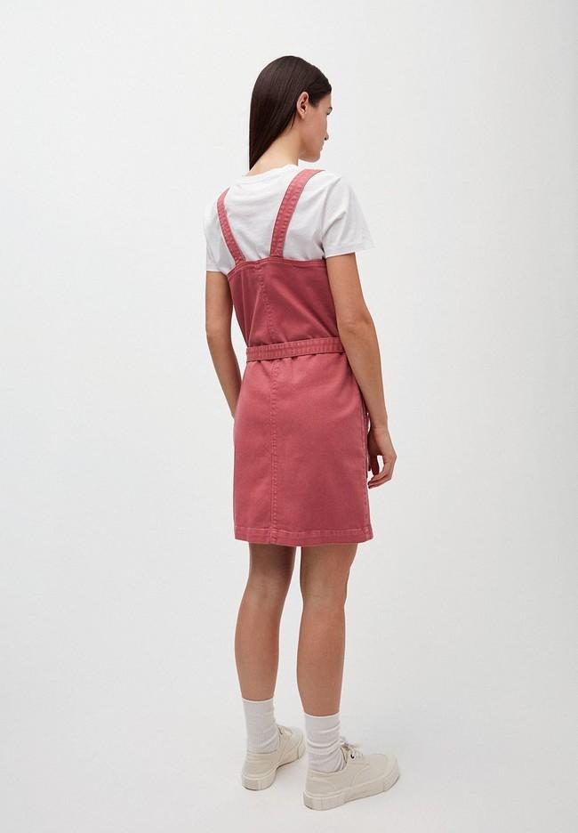 Robe salopette cintrée rose en coton bio - leoniaa - Armedangels num 1