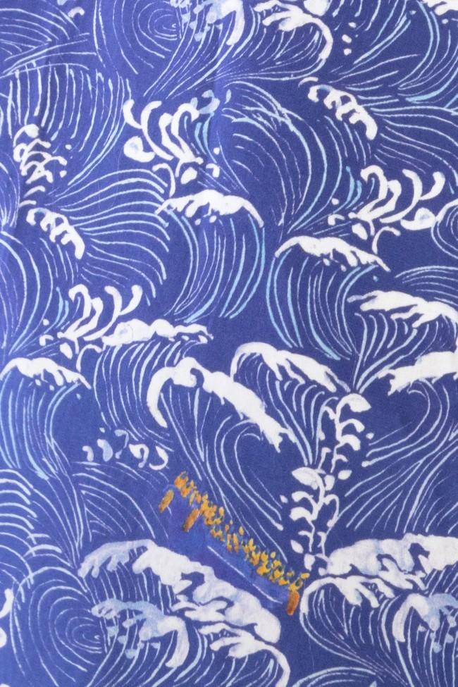 "Top ""hirondelle"" col rond motif méditerranée - Bleu Tango num 4"