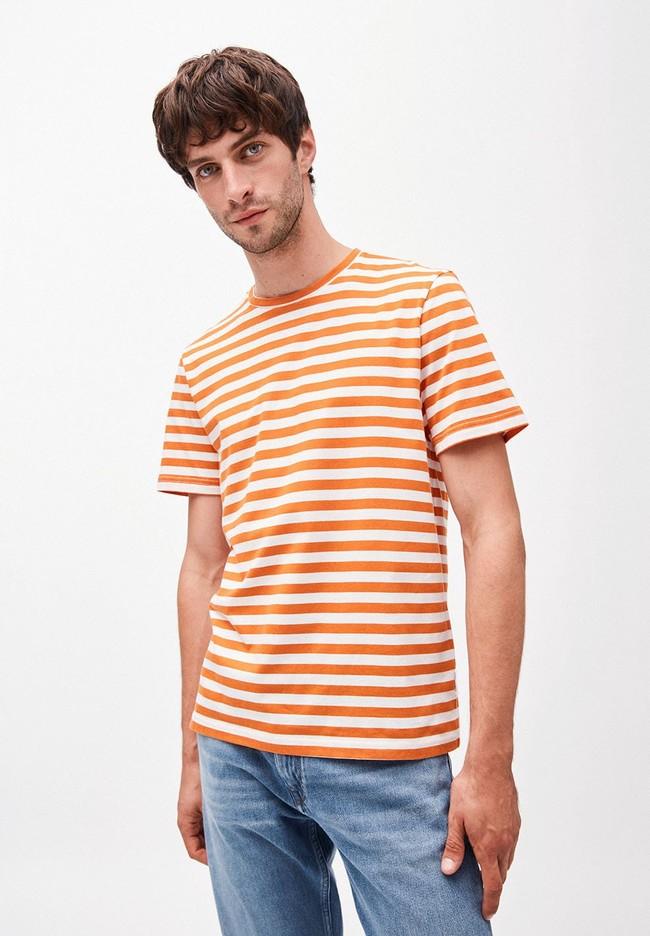 T-shirt rayé orange et blanc en coton bio - jaames breton - Armedangels