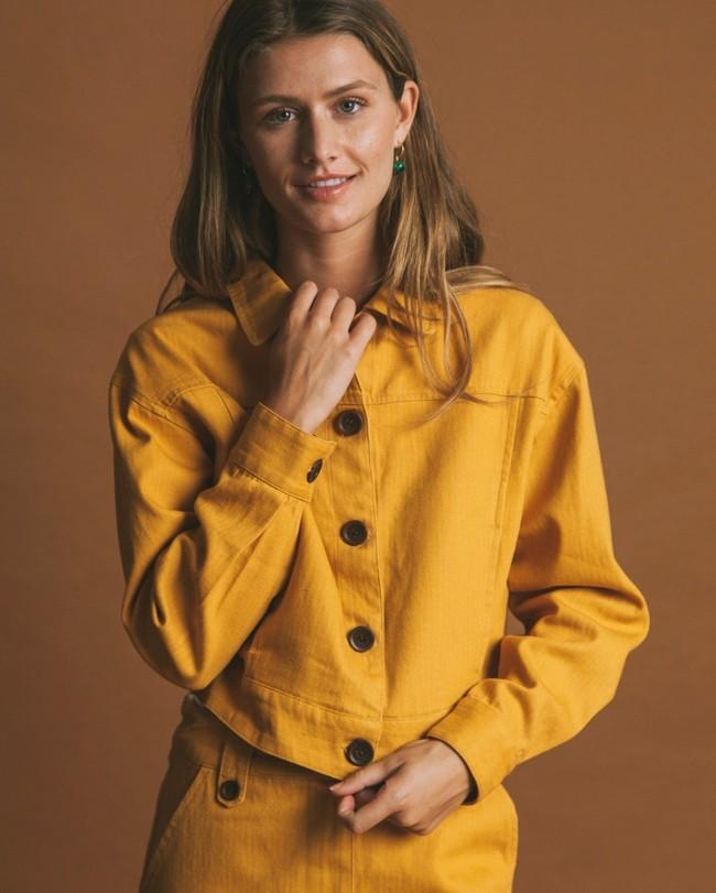 Veste moutarde en chanvre et coton bio - rufiji - Thinking Mu