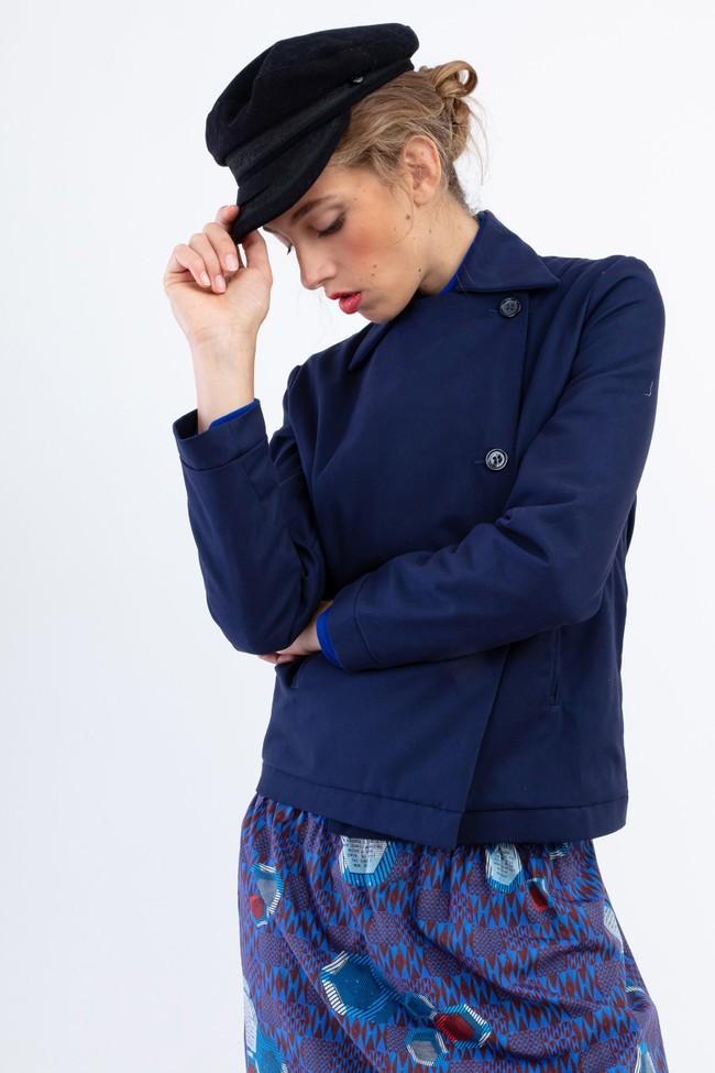 """Veste """"la redoutable"""" en coton upcyclé bleu marine - Bleu Tango num 4"""