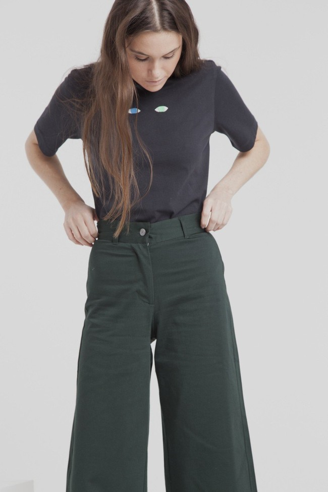 T-shirt noir brodé en coton bio - wolf eyes - Thinking Mu num 3