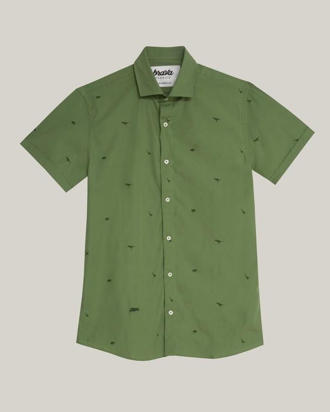 Green jurassic adventure printed shirt - Brava Fabrics num 2