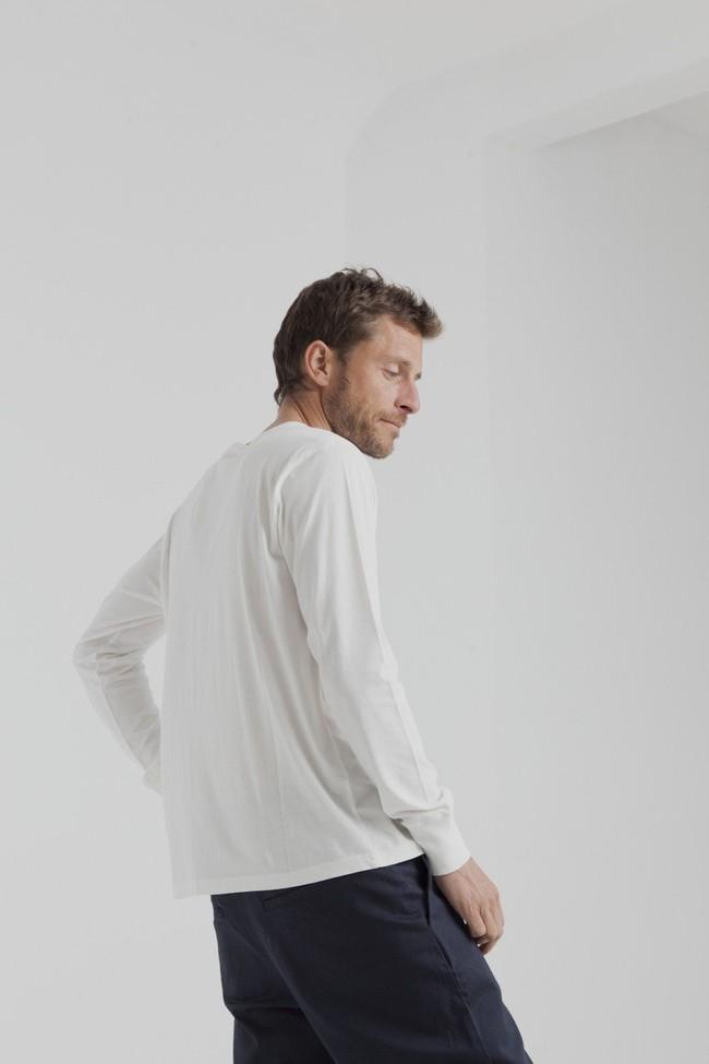 T-shirt manches longues col boutons blanc en coton bio - Thinking Mu num 2