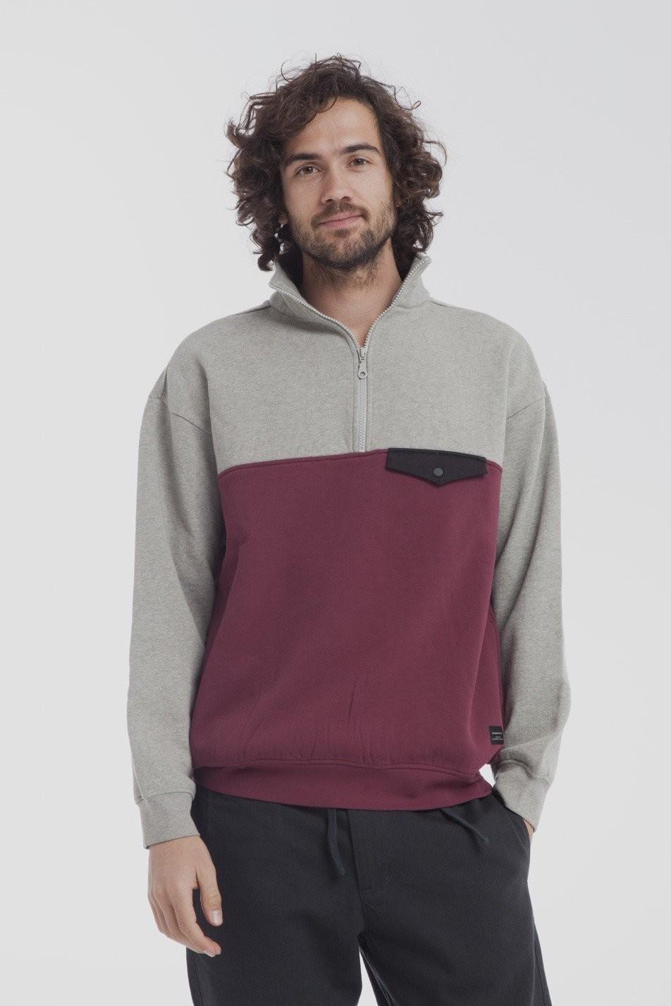 Sweat col zippé bicolore en coton bio - challenger - Thinking Mu