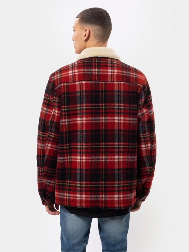 Veste sherpa carreaux rouge en laine recyclée - lenny - Nudie Jeans num 2