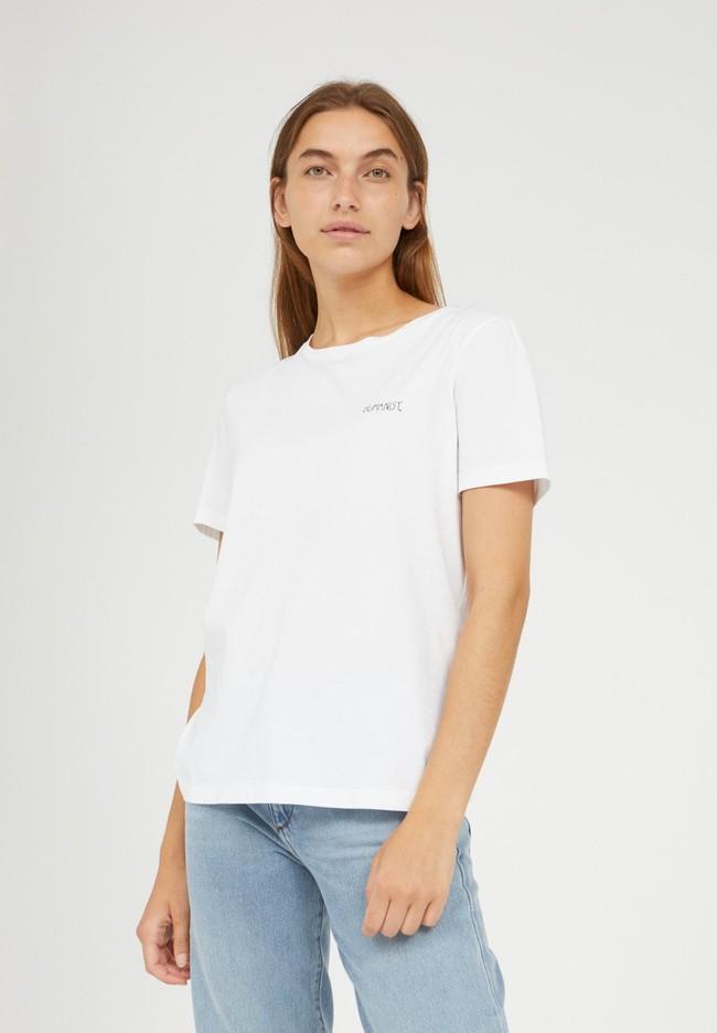 T-shirt brodé blanc en coton bio - maraa mindset - Armedangels