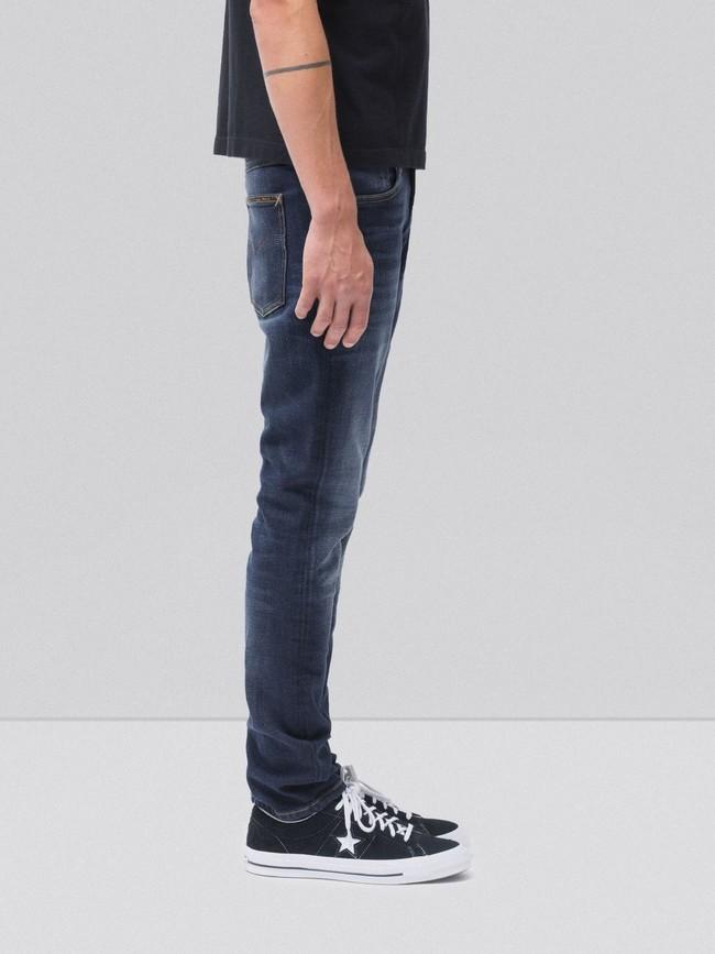 Jean slim délavé bleu foncé coton bio - lean dean dark deep worn - Nudie Jeans num 2