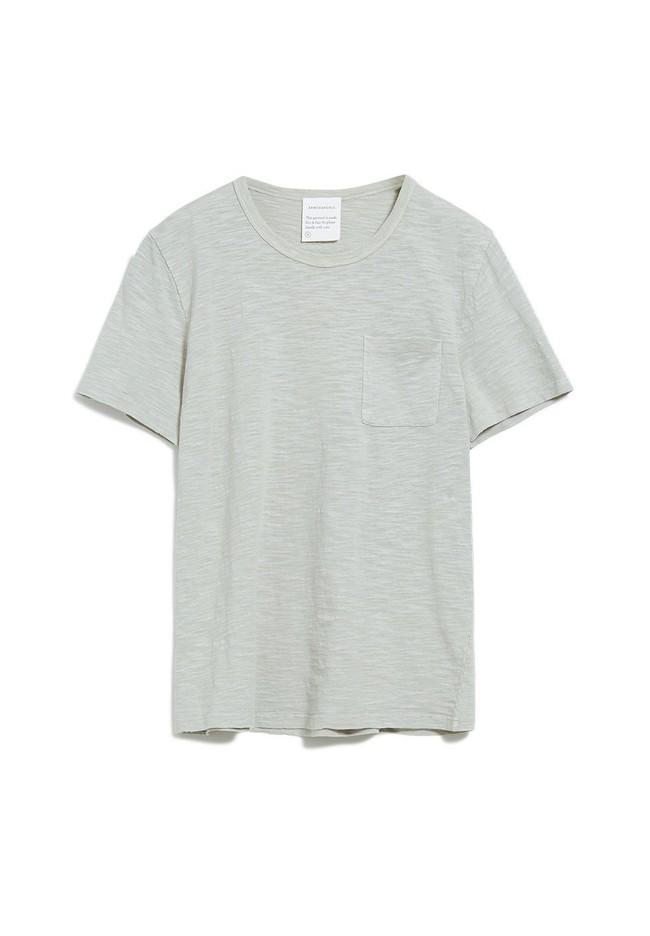 T-shirt avec poche gris/vert en coton bio - paaul pocket - Armedangels num 4
