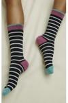 Chaussettes hautes noires rayées en coton bio - People Tree - 2