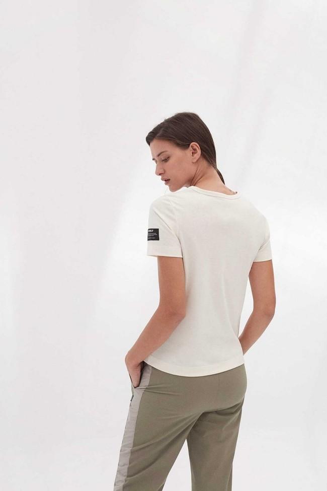 T-shirt imprimé blanc en polyester et coton recyclés - mariela big b - Ecoalf num 3