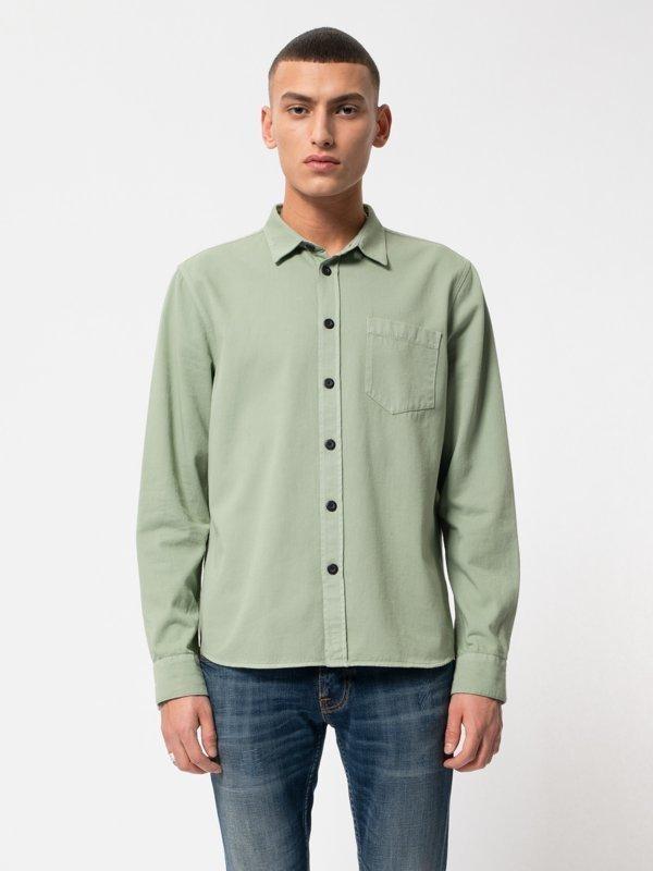 Chemise vert pâle en coton bio - henry - Nudie Jeans num 1