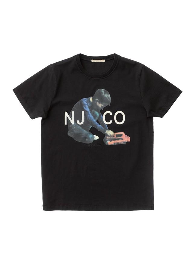 T-shirt noir en coton bio - roy logo boy - Nudie Jeans num 3
