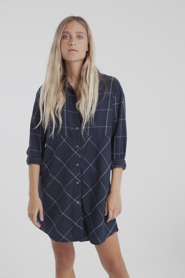 Robe chemise carreaux marine en coton bio - amanda - Thinking Mu