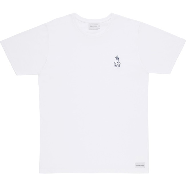 T-shirt en coton bio white high five - Bask in the Sun