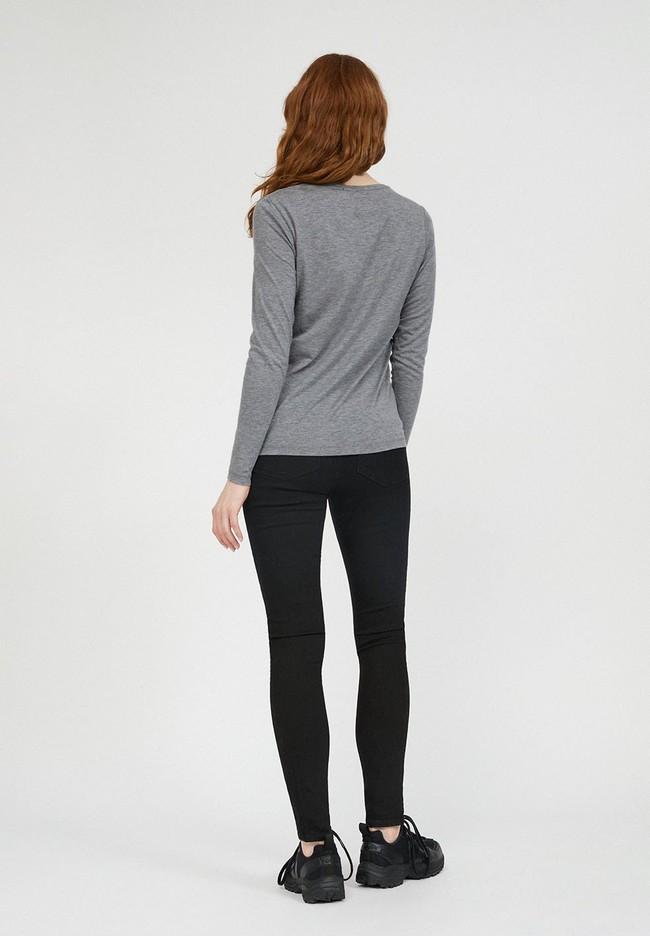 T-shirt manches longues gris en tencel et coton bio - jamaal - Armedangels num 3