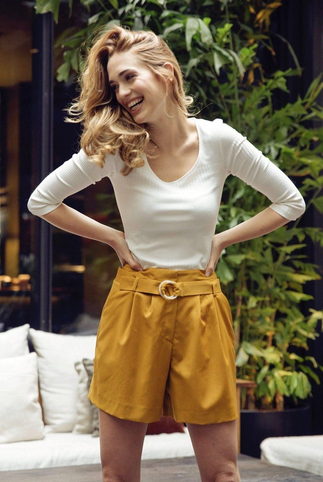 Short tailleur rome jaune safran - 17h10 num 1