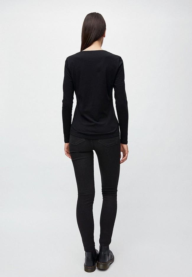 T-shirt manches longues noir en coton bio - rojaa - Armedangels num 2