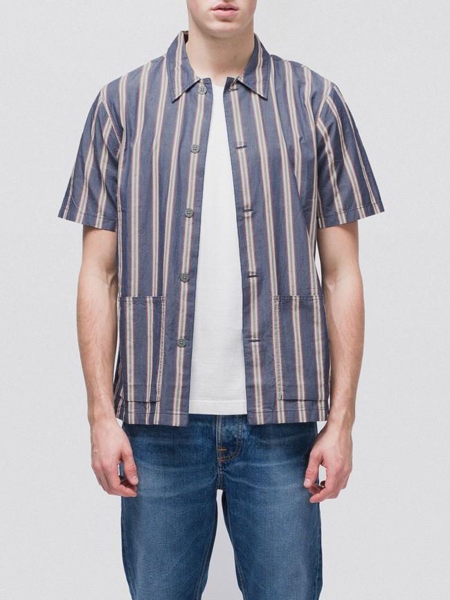 Chemise manches courtes rayée en coton bio - svante cuban - Nudie Jeans