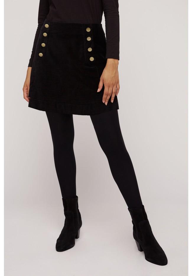 Jupe noire velours en coton bio - layla - People Tree