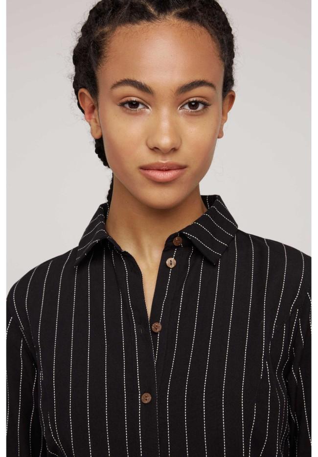 Robe chemise rayée noire en coton bio - isadora - People Tree num 2