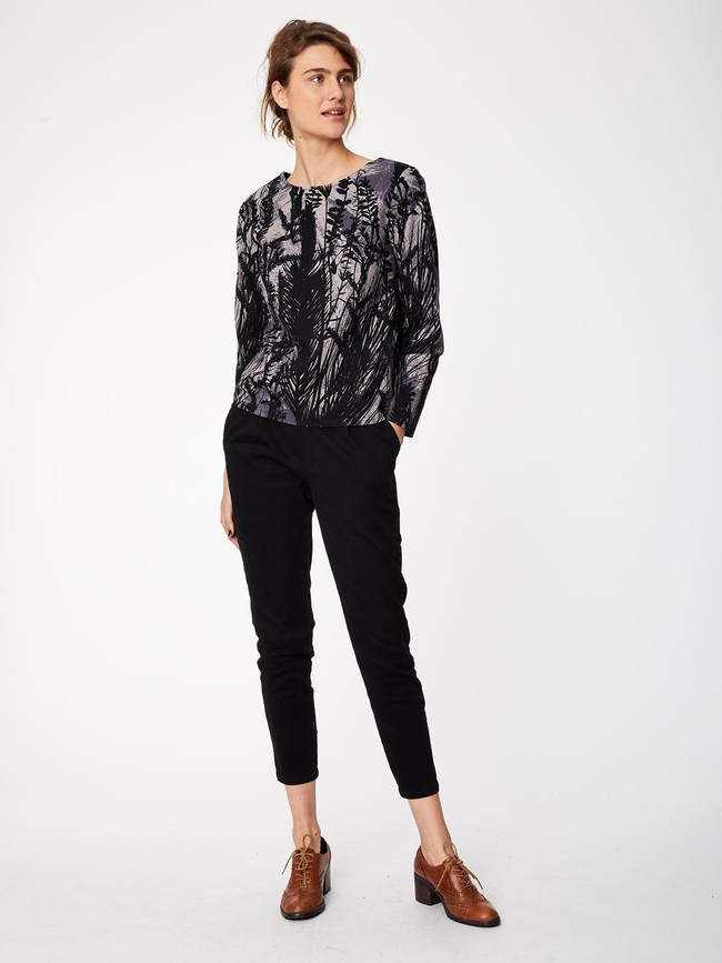 Pantalon noir en twill de coton biologique - Thought num 3