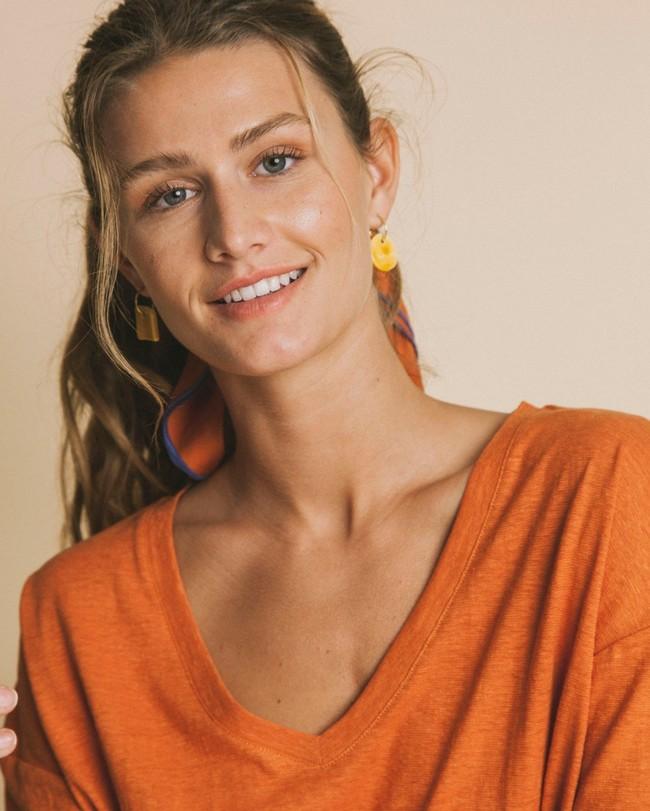 T-shirt col v terracotta en chanvre et coton bio - chloé - Thinking Mu num 1