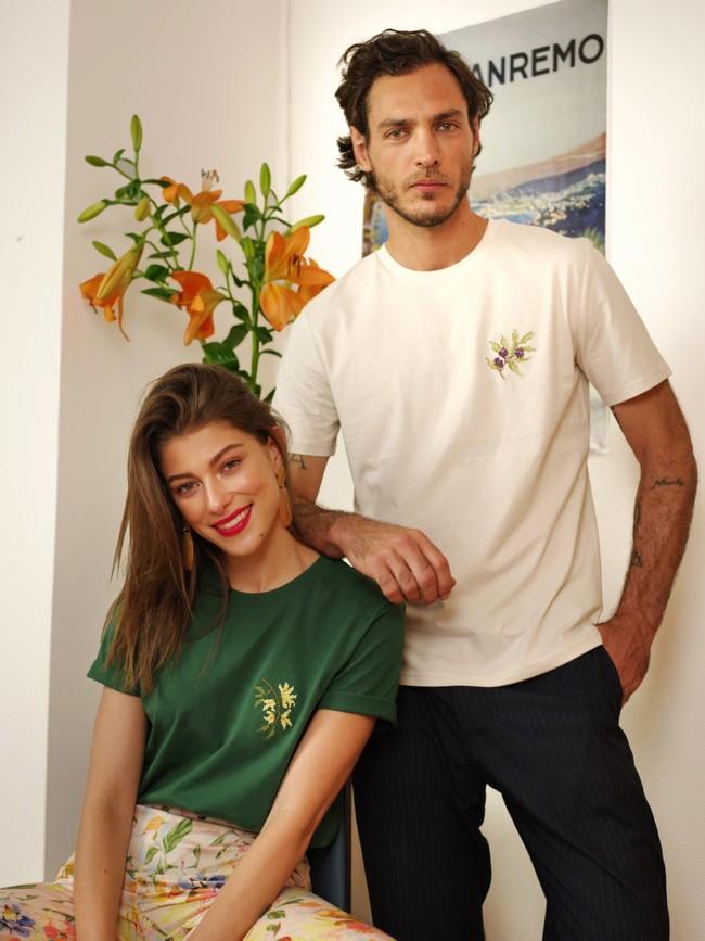 T-shirt brodé vert bouteille en coton bio - jasmin - Johnny Romance