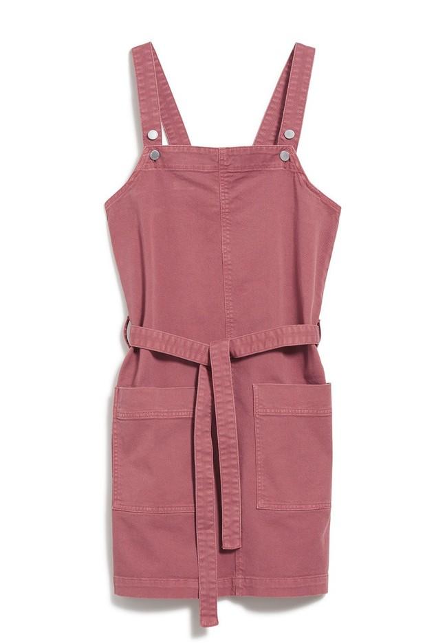 Robe salopette cintrée rose en coton bio - leoniaa - Armedangels num 4